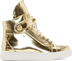 Versus Gold Safety Pin High Top Sneakers