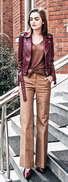 #spring #fashion  Burgundy Leather Jacket & Brown Wide Pants & Brown Top