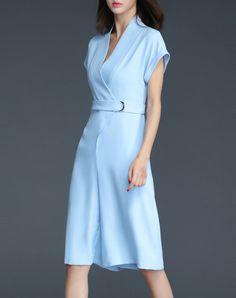 Classy Blue Plain Short Sleeve V Neck Jumpsuit