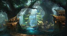 Village In The Woods by mrainbowwj deviantart com on @DeviantArt Fantasy concept art Fantasy landscape Fantasy city