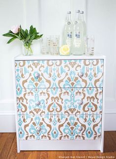 DIY Ikea Rast Dresser Hack with Stenciled Style | Khanjali Ikat Stencil by Royal Design Studio - Painted Dresser Drawers Furniture Piece with Trendy Designer Ikat Fabric Pattern
