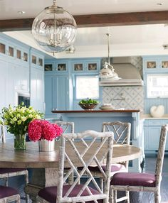 House of Turquoise-cabinetry Decor, Home Kitchens, Beach House Kitchens, Dining Room Design, Kitchen Design, Interior, Home Decor, Breakfast Room, Blue Kitchens