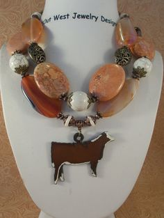 Cowgirl Necklace Set  Chunky Brown Howlite by Outwestjewelry