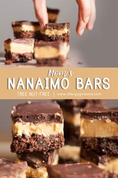 Nanaimo bars recipe Nanaimo bars are Canadian dessert made up of layers of chocolate graham cracker crust, custard, and chocolate! The custard here is free from tree nut. Cold Desserts, Holiday Desserts, No Bake Desserts, Dessert Recipes, Cheesecake Desserts, Raspberry Cheesecake, Dinner Recipes, Chocolate Graham Cracker Crust, Nanaimo Bars