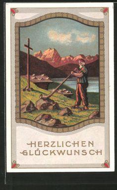 tolle-AK-Herzlichen-Glueckwunsch-Schweizer-blaest-Alphorn