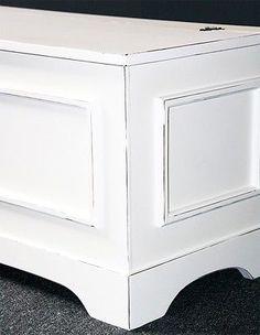 Truhe Truhenbank Sitztruhe 84 Cm Holz Sitzbank Massiv Weiß Vintage Shabby  Chic