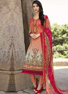 Tomato Red Embroidery Work Lawn Cotton Viscose Printed Designer Pakistani Suit  http://www.angelnx.com/Salwar-Kameez