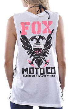 Tank-Top-Muscle-Shirt-Fox-Racing-Junior-Motocross-Checker-Pit-Pass-Fashion-White