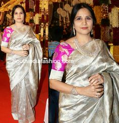 Silver Kanjeevaram Saree – Socialite at Danam Nagender Daughter Wedding Hyderabad socialite looks graceful in floral design silver kanjeevaram saree paired with contrast pink elbow Latest Indian Fashion Trends, 2015 Fashion Trends, Blouse Designs Silk, Saree Blouse Patterns, Indian Sarees, Silk Sarees, Uppada Pattu Sarees, Kanchipuram Saree, Handloom Saree
