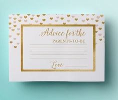 Gold advice for the parents to be printable card instant download white gold foil baby shower card printable advice baby shower games