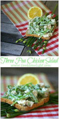 OMG!  The best chicken salad! Three Pea Chicken Salad Healthy, Low Calorie, Low Fat