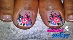 : Pedicure Designs, Toe Nail Designs, Summer Toe Nails, Spring Nails, Butterfly Makeup, Different Types Of Nails, Nail Effects, Gold Eyes, Finger Painting