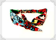 Comic Headband, Super Hero Tie Headband Spiderman Head Scarf Bow Tie Headband Spiderman, Hulk, Rockabilly Hairband on Etsy, $10.00