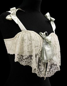 Bust bodice of satin and machine lace, France, ca. 1905. Museum