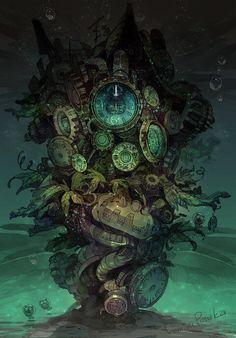 Steampunk Tendencies — Illustrations by DemizuPosuka Steampunk Illustration, Illustration Art, Steampunk Kunst, Digital Foto, Ken Tokyo Ghoul, Art Manga, Salvador Dali, Fantasy Landscape, Fantasy World