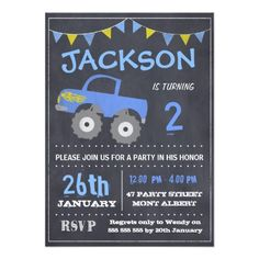 Monster Truck Chalkboard #Birthday Invitation
