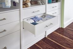 A storage system with drawers can hold onesies and supplies now and accommodate your child's school clothes as he grows. #Nursery #KidsRoom #ClosetMaid Kids Room Organization, Kids Storage, Drawer Fronts, Kitchen Pantry, Kidsroom, Baby Room, Drawers, Shelves, Modern