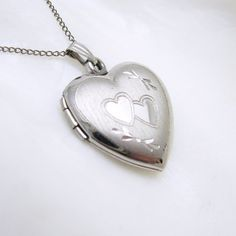 Sterling Heart Locket Necklace Vintage Jewelry by NinjaCan on Etsy