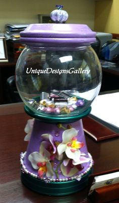 Tropical Flowers, Hawaii, Candy Jar, Bank, Cookie Jar Decorative Decanter, Gumball Machine, Terrarium, Fish Bowl, Fish Tank