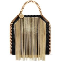 Stella McCartney Tiny Falabella ($999) ❤ liked on Polyvore featuring bags, handbags, tote bags, handbags totes, brown tote, fringe handbags, tote handbags and brown tote purse