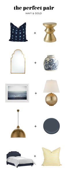 The Perfect Pair: Navy & Gold - Home Decoraiton Living Room Grey, Living Room Decor, Bedroom Decor, Bedroom Interiors, House Interiors, Living Rooms, Bedroom Ideas, Blue And Gold Bedroom, Navy Bedrooms