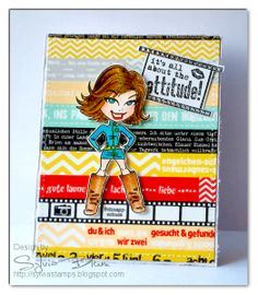 ...{Sylvias Stamping Place}...: Washi Tape Card - it's all about the attitude-a card, that I created by using Washi Tapes! The new (Duo-)Washi Tapes from Scrapbook-Werkstatt!  image stamp is KennyK and available in rubber from Whimsy Stamps.