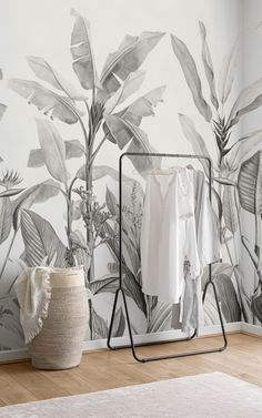 Filled with earthy Monochrome tones and towering tropical plants, this Redouté wallpaper mural is a paradise for anyone who loves neutral colours and nature-themed decor. The mural features beautiful botanical illustrations by Pierre-Joseph Redouté. We've taken these small, delicate drawings and transformed them into an impressive greyscale jungle design, which manages to be gracefully elegant and refreshingly modern at the same time. Paradise Wallpaper, World Map Wallpaper, Plant Wallpaper, Tropical Wallpaper, Forest Wallpaper, Beach Wallpaper, Kids Wallpaper, Flower Wallpaper, Tropical Design