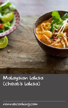 Malaysian laksa (cheat's laksa) | This laska combines fresh ingredients with a commercial laksa paste, meaning a lot of the prep work is done for you. To make this recipe even easier, place the garnishes in the centre of the table, allowing diners to assemble their laksa to taste.