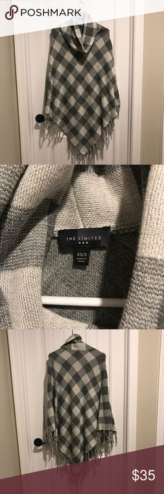 The Limited Poncho Poncho from the Limited just purchased end of 2016 and only worn once! Excellent new condition The Limited Sweaters Shrugs & Ponchos