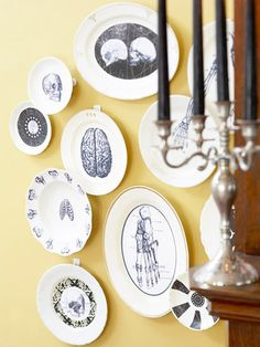 Skeletal and anatomical illustrations on white plates.  Print images of copyright-free clip art, then decoupage them onto Dollar Store plates and bowls.
