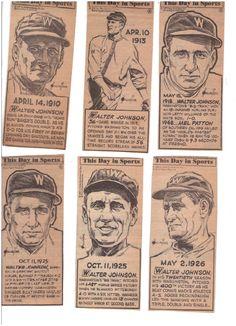 Walter Johnson Senators lot of 6 Len Hollreiser This Day In Sports rare