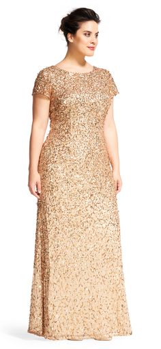 Scoop Back Sequin Gown Adrianna Papell Mob Dresses, Gala Dresses, Formal Dresses, Vestidos Plus Size, Plus Size Dresses, Brides Mom Dress, Simple Gowns, Gold Bridesmaid Dresses, Sequin Gown