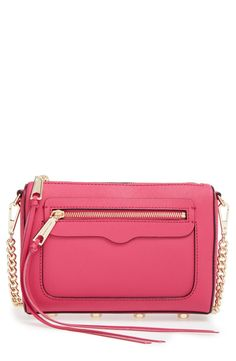 Absolutely adoring this pink Rebecca Minkoff crossbody with gold hardware.
