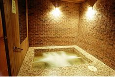 square shaped indoor hot tub