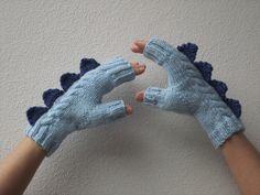 Dragon dinosaur monster two tone blue fingerless by HotScones, $46.00
