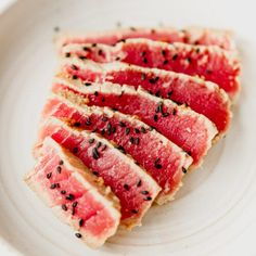 Learn To Make Seared Ahi Tuna! It's Easy and Delicious. Fresh Tuna Recipes, Tuna Steak Recipes, Clean Recipes, Fish Recipes, Ahi Tuna Marinade, Seared Tuna Steak Recipe, Tuna Steaks, Raw Vegan Recipes, Healthy Recipes