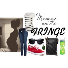 Mama on the Fringe by anna-murphy-harris on Polyvore featuring Mama.licious, H&M, Keds, Sonoma life + style, CamelBak, keds, Cookout, fringebag, maternity and errands