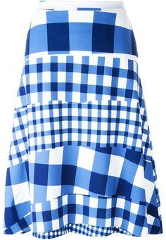 Être Cécile blue gingham checked skirt