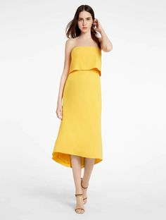 Pin for Later: Victoria Beckham May Have Single-Handedly Started a New Color Trend With This Outfit  Halston Strapless Midi Crepe Dress ($275)