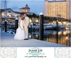 The Westin at Marina Village | Cape Coral Wedding Photographer | Jamie Lee Photography | Bride and Groom Posing on Dock in Front of Hotel