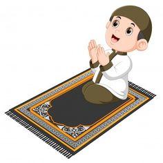 Muslim girl sitting on the prayer rug while praying Vector