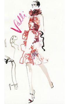 David Downton draws couture fashion illustration