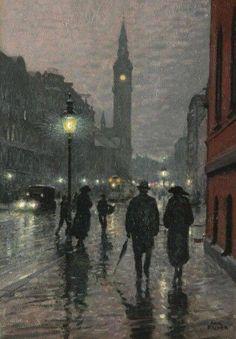Paul Gustave Fischer Evening West Rampart Street, Copenhagen, Oil on canvas, x cm, Private Collection . Aesthetic Painting, Aesthetic Art, Nocturne, Art Sketches, Art Drawings, Arte Van Gogh, Van Gogh Art, Classical Art, Renaissance Art