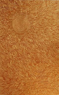 Sarrita King - Waterhole, 2011 - Acrylic on linen - 160 x 100 cm. Sarrita paints the naturally occurring waterholes she remembers travelling to around Alice Springs & Katherine. The scarcity of drinking water in certain regions means specific knowledge of where these waterholes are located, as well as their preservation methods, is paramount to survival. Today, Aborigines speak of where waterholes once were as many of them have dried up due to drought or diminished maintenance.