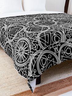 'Mystical Black Design' Comforter by Shane Simpson Square Quilt, Mystic, Quilt Patterns, Comforters, Pillows, Retro, Black, Design, Home Decor