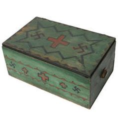 1920's Navajo Style Hand Painted Trunk or Box with Whirling Logs & Blanket Designs.