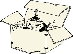 little my was not expecting a hug when she jumped out of moominmama s birthday box , must try harder she thought ミイ