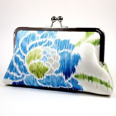 Blue Rose Sketch Clutch Purse/ Cotton clutch/ by ElevenRoosters, $55.00