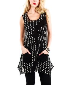 Another great find on #zulily! Black & White Chevron Pocket Tunic by Lily #zulilyfinds
