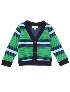 Splendid Official Store, Variegated Stripe Cardigan, galapagos green, Littles : Baby : Boy : Tops, SKB2712